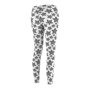Womens Cat Leggings, Cat Print Leggings with a Black and White Leopard Pattern