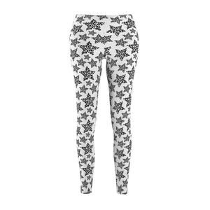 Clothes with Cats On Them, Cat Leggings with White and Black Leopard Print