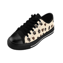Load image into Gallery viewer, Cat Shoes, Fun Leopard Print Sneakers with a One of a Kind Design Featuring Paw Prints and Leopard Print Hearts