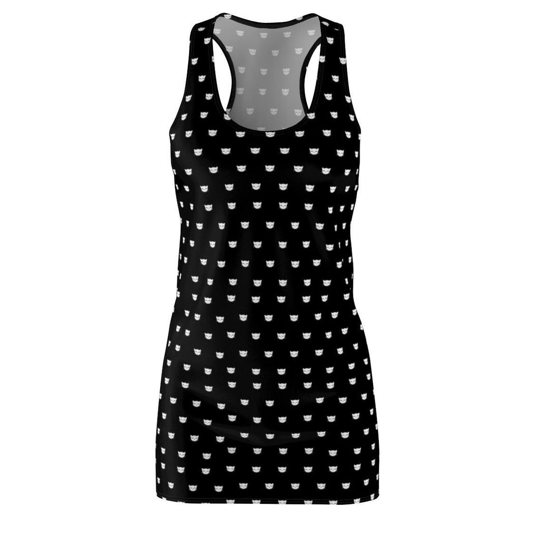 Clothes for Cat Lovers, Cat Print Dress Featuring White Cat Faces Printed On a Soft Black Fabric