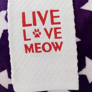 Cat hand towel featuring red hand embroidered decorations and the text Live Love Meow and a paw print