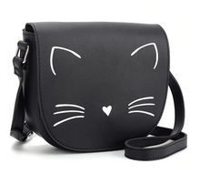 Load image into Gallery viewer, Cat Crossbody Purse Made of Black PU Leather and Featuring an Embroidered White Cat Face