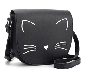 Cat Crossbody Purse Made of Black PU Leather and Featuring an Embroidered White Cat Face