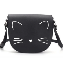 Load image into Gallery viewer, Cat Themed Gifts for Women, Black Cat Handbag with White Whiskers