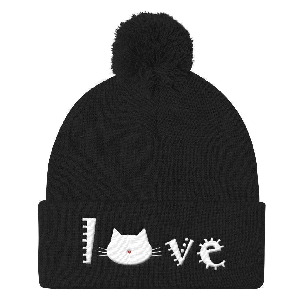 Cat Themed Christmas Gifts, Cat Beanie Decorated with the Word Love and a Cute Cat Face