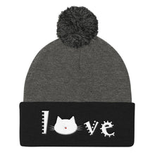 Load image into Gallery viewer, Gifts for Cat Lovers, Cat Beanie with a Pom Pom Featuring the Word Love and a Cute Cat Face
