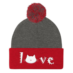 Crazy Cat Lady Christmas Gifts, Cute Cat Beanie with a Pom Pom and an Embroidered Cat Face