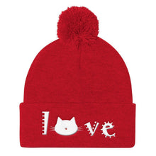 Load image into Gallery viewer, Crazy Cat Lady Christmas Gift Ideas, Cute Cat Beanie Featuring the Word Love and a Kitty Cat Face