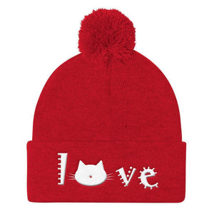 Crazy Cat Lady Christmas Gift Ideas, Cute Cat Beanie Featuring the Word Love and a Kitty Cat Face