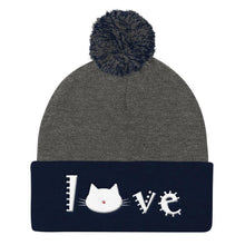 Load image into Gallery viewer, Unique Christmas Gifts for Cat Lovers, Cat Beanie with Embroidered Cat Face and the Word Love