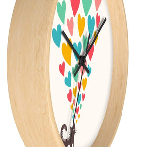 Housewarming Gifts for Cat Lovers, Cat Clock Decorated with a Cute Black Cat and Colorful Hearts