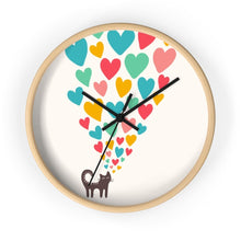 Load image into Gallery viewer, Cat Themed Home decor, Cat Wall Clock Featuring a Black Cat and Colorful Hearts