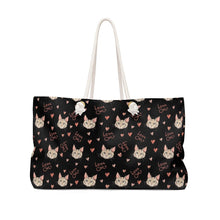 Load image into Gallery viewer, Purses with Cats On Them, Cat Weekender Bag Featuring the Words Love Cats Printed On Black Canvas
