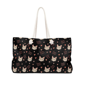 Purses with Cats On Them, Cat Weekender Bag Featuring the Words Love Cats Printed On Black Canvas