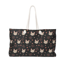 Load image into Gallery viewer, Cute Weekender Bags, Cat Bag Featuring Cats and the Text Love Cats Printed On Black Canvas Fabric