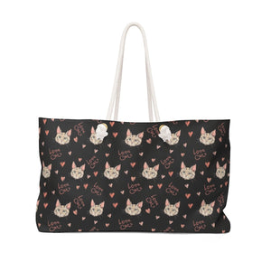 Cute Weekender Bags, Cat Bag Featuring Cats and the Text Love Cats Printed On Black Canvas Fabric