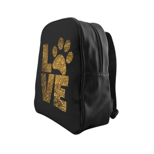 Gifts for Cat People, Cute Backpack with the Word Love and a Paw Print In Gold