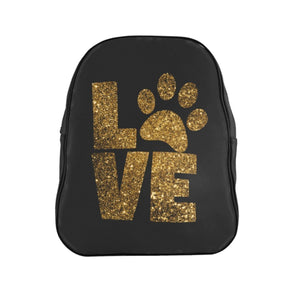 Cute Backpacks for Animal Lovers, Paw Print Backpack Featuring a Golden Print of the Word Love