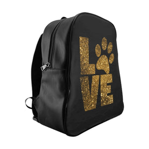 Cat Things for Cat Lovers, Paw Print Backpack for Women Featuring Glittery Gold Print of the Word Love