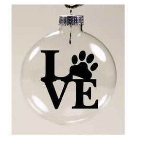 "Cat Christmas Tree Decorations, Cat Ornament Decorated with the Word ""Love"" and a Cute Paw Print"