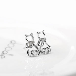 Cat Jewelry, Sterling Silver Cat Earrings Featuring a Cat with a Zirconia Encrusted Collar