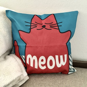 Cat Themed Throw Pillows, Cat Pillow With The Word Meow and a Pink Cat Printed On The Front