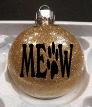 Load image into Gallery viewer, Christmas Gifts for Cat Lovers, Meow Christmas Ornament In Golden Glitter