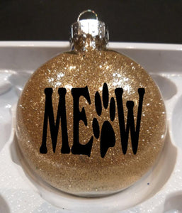 Christmas Gifts for Cat Lovers, Meow Christmas Ornament In Golden Glitter
