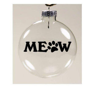Cat Christmas Decorations, Cat Christmas Tree Ornament Decorated with the Words Meow and a Paw Print