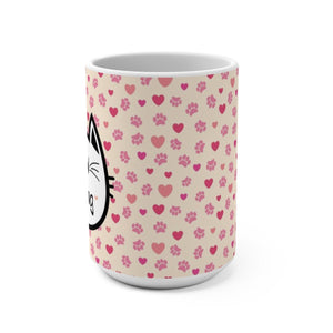 Cat Lover Mug Decorated with a Colorful Paw Print