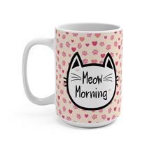 Load image into Gallery viewer, Cat Lover Mug, Cute Cat Mug Decorated with a Cat Face and the Words Meow Morning