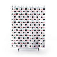 Load image into Gallery viewer, Cat Bathroom Accessories, Cute Black Cat Shower Curtain