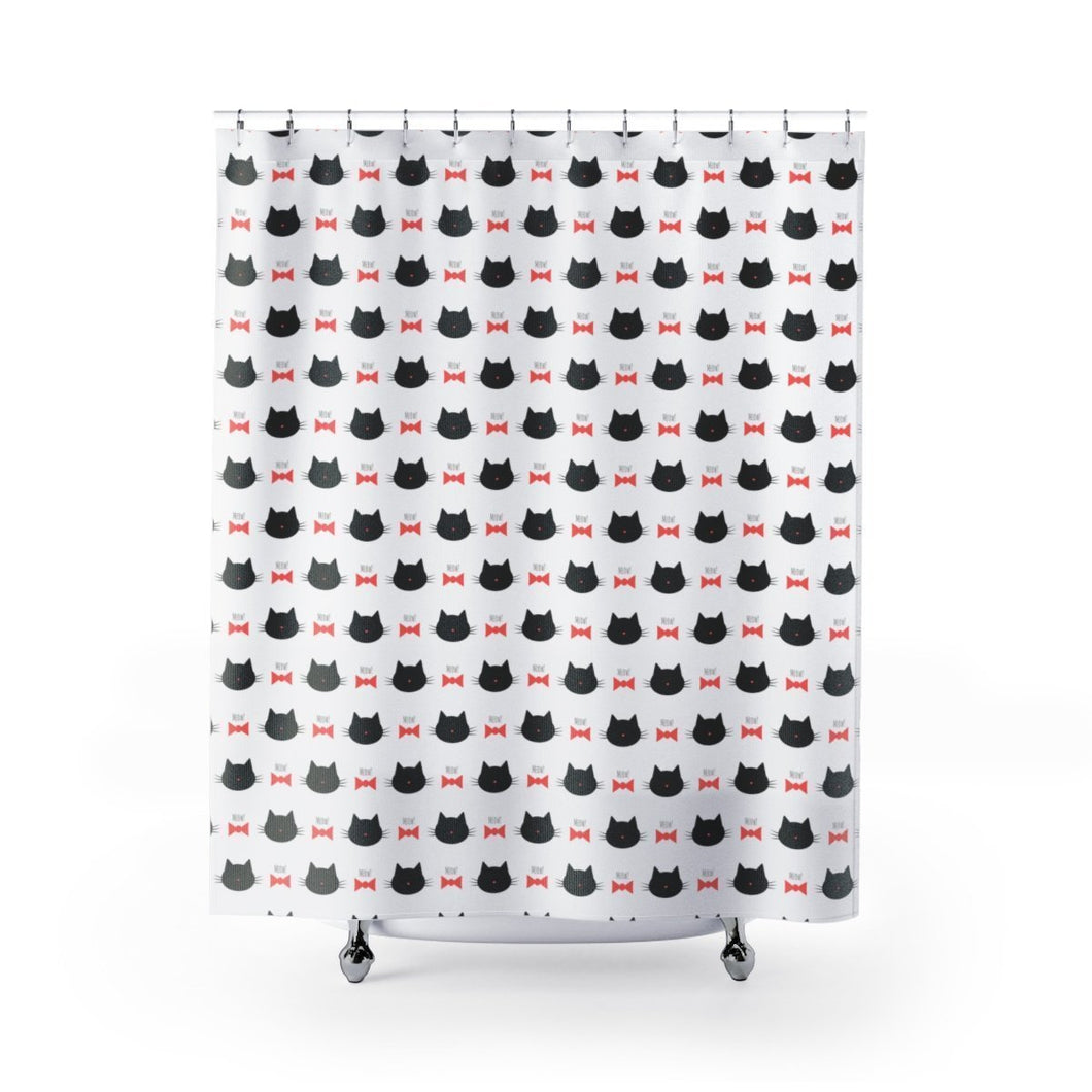 Cat Bathroom Accessories, Cute Black Cat Shower Curtain
