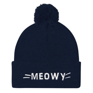 Cat Themed Christmas Gifts, Meow Beanie Featuring a One of a Kind Embroidery of the Word Meow and a Set of Whiskers