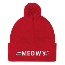 Load image into Gallery viewer, Christmas Gifts for Cat Ladies, Cute Cat Beanie Featuring the Word Meow, Cat Whiskers, and a Pom Pom