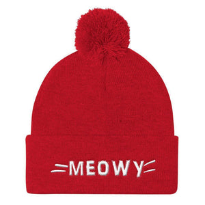 Christmas Gifts for Cat Ladies, Cute Cat Beanie Featuring the Word Meow, Cat Whiskers, and a Pom Pom