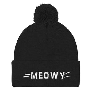 Christmas Gifts for Cat Lovers, Cat Beanie Decorated with the Word Meow and a set of Whiskers Embroidered in White