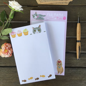 Cute Cat Themed Gifts for Her, Cat Themed Notepad Set of 4