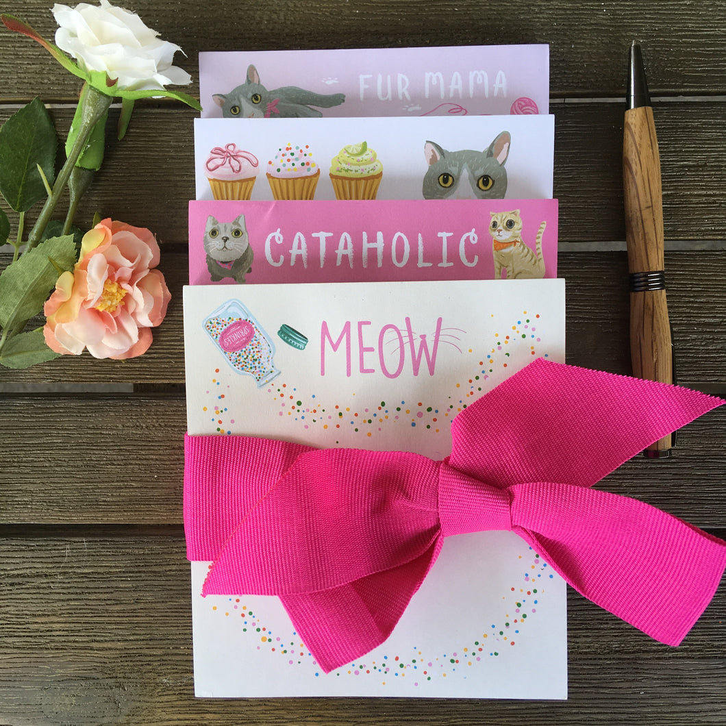 Unique Gifts for Cat Lovers, Cat Notepad Set of 4