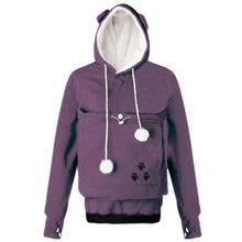 Load image into Gallery viewer, Cat Themed Clothing, Mewgaroo Pet Holder Fleece Hoodie