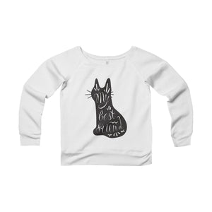Sweaters with Cats On them, Cat Sweater Made of Soft Fleece Fabric and Featuring a Black Cat Printed On the Front