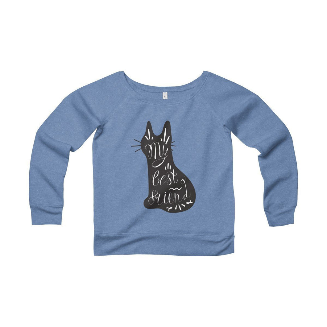 Womens Cat Sweater Featuring a Black Cat and the Words My Best Friend Printed Across the Front