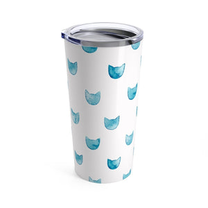 Unique Gifts for Cat Lovers, Stainless Steel Cat Tumbler Printed with Blue Cat Faces