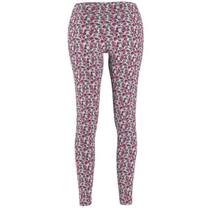 Cute Things for Cat Lovers, Paw Print Leggings with Blue and Pink Paws Printed On a White Fabric