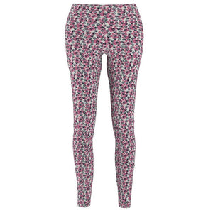 Cat Themed Clothing and Accessories, Paw Print Leggings Featuring Blue and Pink Paws Printed On a Soft White Fabric