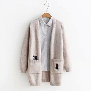 Women's Clothing With Cats On Them, Beige Cat Cardigan With An Embroidered Black Cat