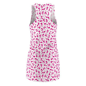 Dress with Cat Print, Cat Dress With Pink Cats Printed On a White Fabric