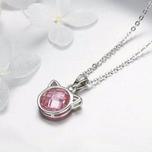 Load image into Gallery viewer, Cat Themed Gifts for Women, Cat Necklace Made of Sterling Silver Featuring a Pink Zirconia Cat Pendant