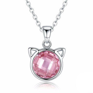 Cat Jewelry, Sterling Silver Cat Pendant with Light Pink Cubic Zirconia
