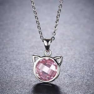 Cat Gifts for Her, Sterling Silver Cat Necklace Featuring a Pink Zirconia Cat Pendant